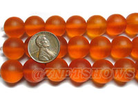 Cultured Sea Glass round Beads <b>14mm </b> 83-Tangerine   per <b>8-in-str</b>