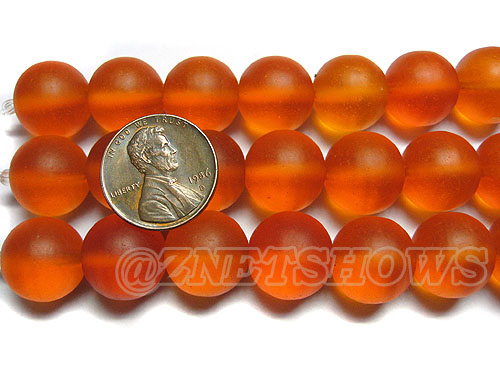 Cultured Sea Glass round Beads <b>14mm </b> 83-Tangerine   per <b>8-in-strand</b>