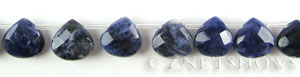 sodalite faceted teardrop puffed Beads <b>13x13mm</b>  tip-drilled   per   <b> 30-pc-str</b>