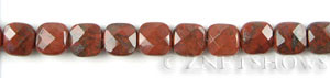 poppy jasper faceted square puffed Beads <b>10mm</b>     per   <b> 15.5 inch-str</b>
