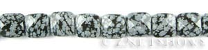 snowflake obsidian faceted square puffed Beads <b>12mm</b>     per   <b> 15.5-in-str</b>