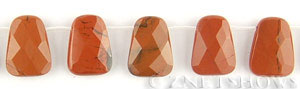 red jasper faceted trapezoid Beads <b>20x15mm</b>  top side drilled   per   <b> 20-pc-str</b>