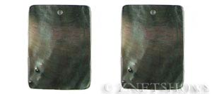 shell - black lip  rectangle flat Pendants <b>About 40x30mm</b>  -hole size 2mm   per   <b>Piece</b>