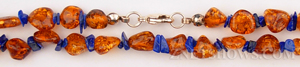 amber necklace nugget Beads <b>about 5x7mm</b> golden brown with lapis chips necklace    per   <b> 16-Inch Necklace</b>
