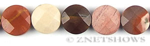Other stone & material mookaite, faceted coin puffed Beads <b>12mm</b>     per   <b> 15.5-in-str</b>
