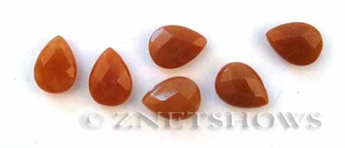 red aventurine faceted teardrop puffed Beads <b>16x12mm</b>  tip-drilled   per   <b> 6-pc-bag</b>