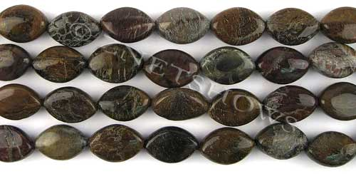 Other stone & material snakeskin agate marquise spindle Beads <b>15x10mm</b>     per   <b> 15.5-in-str</b>