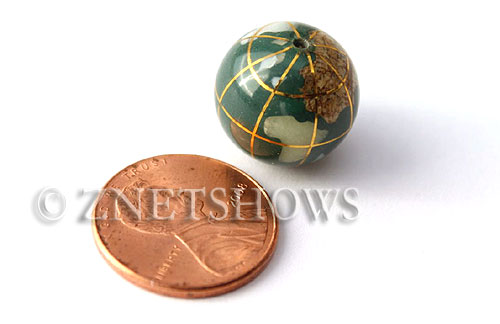 Globe Beads malachite color round Beads <b>15mm</b> Gold Lines    per   <b> piece</b>