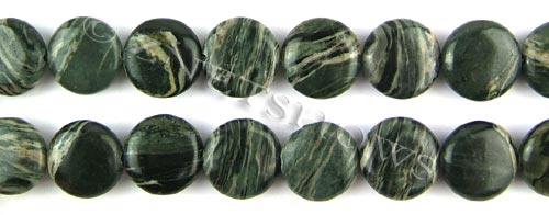 african silver leaf  coin puffed Beads <b>14mm</b>     per   <b> 8-in-str</b>