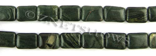 african silver leaf  rectangle puffed Beads <b>14x10mm</b>     per   <b> 8-in-str</b>