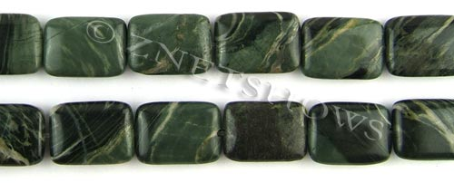 african silver leaf  rectangle puffed Beads <b>18x13mm</b>     per   <b> 8-in-str</b>