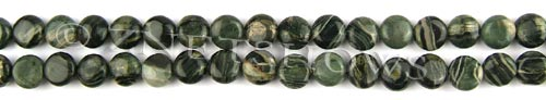 african silver leaf  coin puffed Beads <b>8mm</b>     per   <b> 8-in-str</b>