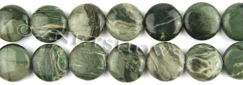 african silver leaf  coin puffed Beads <b>20mm</b>     per   <b> 8-in-str</b>