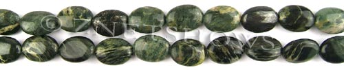 african silver leaf  oval puffed Beads <b>14x10mm</b>     per   <b> 8-in-str</b>