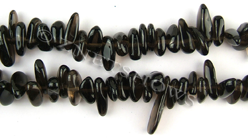 smoky quartz  long pebble Beads <b>about 15x10mm</b>     per   <b> 15.5-in-str</b>