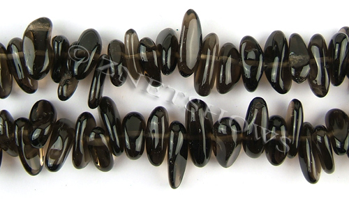 smoky quartz  long pebble Beads <b>about 18x10mm</b>     per   <b> 15.5-in-str</b>