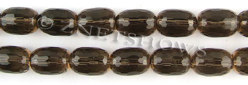 smoky quartz faceted drum Beads <b>15x11mm</b>     per   <b> 15.5-in-str</b>