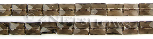 smoky quartz faceted rectangle puffed Beads <b>10x8mm</b>     per   <b> 15.5-in-str</b>