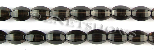smoky quartz six-sided barrel Beads <b>12x8mm</b>     per   <b> 15.5-in-str</b>