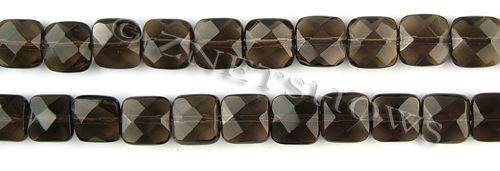 smoky quartz faceted square puffed Beads <b>10x10mm</b>     per   <b> 15.5-in-str</b>