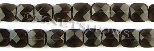 smoky quartz faceted square puffed Beads <b>12x12mm</b>     per   <b> 15.5-in-str</b>