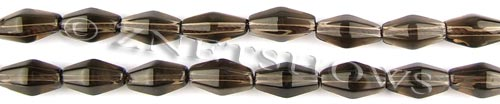 smoky quartz faceted bicone Beads <b>12x6mm</b>     per   <b> 15.5-in-str</b>