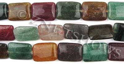 green aventurine dyed tourmaline color rectangle puffed Beads <b>15x20mm</b>     per   <b> 15.5-in-str</b>