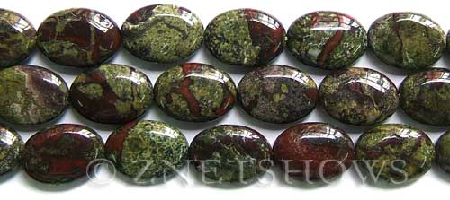 dragon blood jasper  oval puffed Beads <b>18x13mm</b>     per   <b> 8-in-str</b>