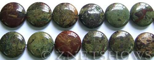 dragon blood jasper coin puffed Beads <b>25mm</b>    per <b>8-in-str</b>