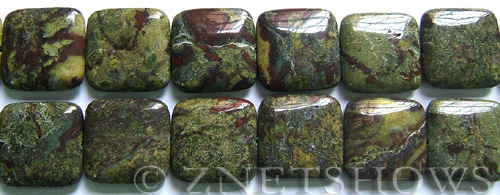 dragon blood jasper  square puffed Beads <b>25x25mm</b>     per   <b> 8-in-str</b>