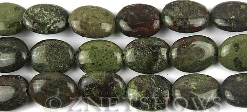 dragon blood jasper  oval puffed Beads <b>16x12mm</b>     per   <b> 8-in-str</b>