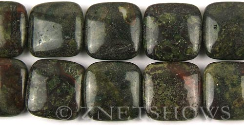 dragon blood jasper  square puffed Beads <b>20x20mm</b>     per   <b> 8-in-str</b>
