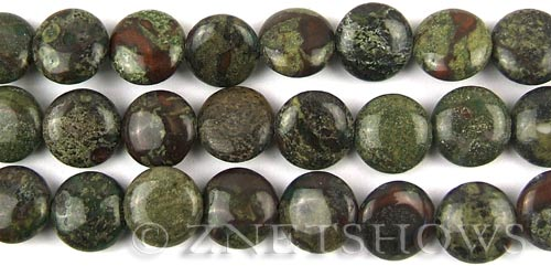 dragon blood jasper  coin puffed Beads <b>12mm</b>     per   <b> 8-in-str</b>