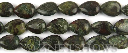 dragon blood jasper  teardrop puffed Beads <b>14x10mm</b>     per   <b> 8-in-str</b>