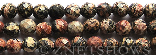 leopardskin jasper faceted round Beads <b>10mm</b> with 2mm large hole    per   <b> 15.5-in-str</b>