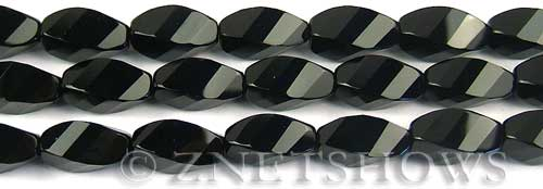 black onyx faceted twist Beads <b>16x8mm</b>     per   <b> 8-in-str</b>