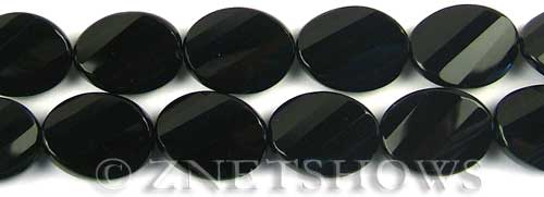 black onyx faceted twisted oval Beads <b>20x16mm</b>     per   <b> 8-in-str</b>