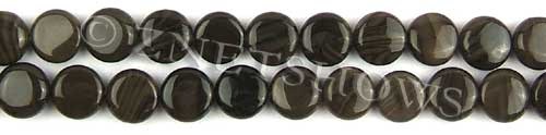 coffee jasper  coin puffed Beads <b>10mm</b>     per   <b> 8-in-str</b>