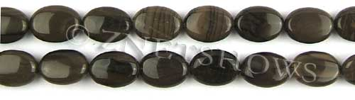 coffee jasper  oval puffed Beads <b>14x10mm</b>     per   <b> 8-in-str</b>