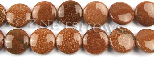 goldstone  coin puffed Beads <b>16mm</b>     per   <b> 8-in-str</b>