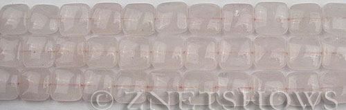 rose quartz  square puffed Beads <b>10x10mm</b>     per   <b> 15.5-in-str</b>