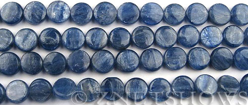 kyanite  coin Beads <b>10mm</b> thick    per   <b> 8-in-str</b>