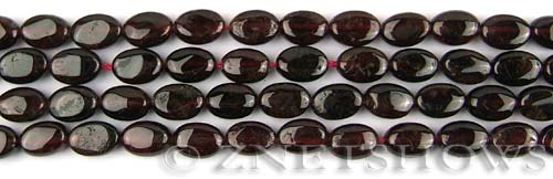 red garnet  oval puffed Beads <b>9x6mm</b>     per   <b> 8-in-str</b>