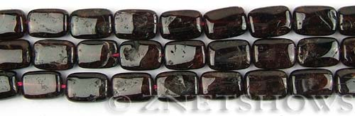 red garnet  rectangle puffed Beads <b>12x8mm</b>     per   <b> 8-in-str</b>