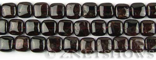 red garnet  square puffed Beads <b>10x10mm</b>     per   <b> 8-in-str</b>