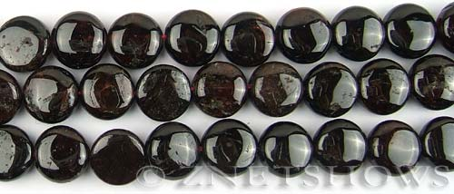 red garnet  coin puffed Beads <b>12mm</b>     per   <b> 8-in-str</b>