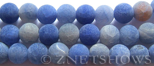 Fire agate dyed blue color round Beads <b>12mm</b>     per   <b> 8-in-str</b>