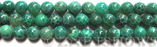 Fire agate fire crackled agate round Beads <b>12mm</b> dyed dark green color    per   <b> 8-in-str</b>