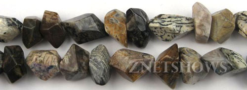 silver leaf faceted nugget Beads <b>8-15x12-22mm</b>     per   <b> 8-in-str</b>