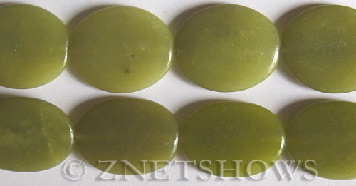 olive jade  oval puffed Pendants <b>30x22mm</b>     per   <b> 15.5-in-str</b>